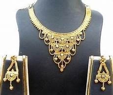 22k Gold Indian Jewellery Designs 22k Gold Plated Designer Necklace Earrings Indian Wedding