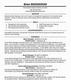 Plant Manager Resume Plant Manager Resume Sample Resumes Misc Livecareer