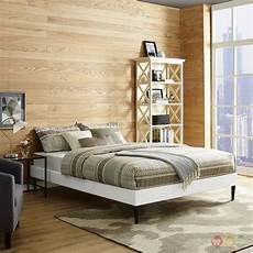 sherry upholstered vinyl leather platform bed frame