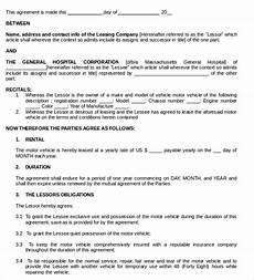 Vehicle Lease Agreement Sample Sample Vehicle Lease Agreement Templates 12 Free