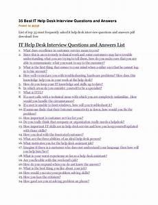 Interview Questions For Help Desk 35 Best It Help Desk Interview Questions And Answers