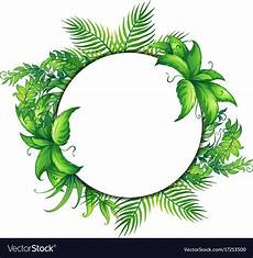 Green Border Design Border Template With Green Leaves Royalty Free Vector Image
