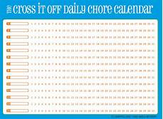 Chore Calendar Cross It Off Daily Chore Calendar Blue With Orange Free