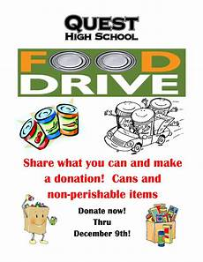 Can Food Drive Flyer Qhs Food Drive Quest High School
