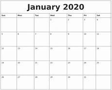 January Editable Calendar 2020 June 2020 Calendar Printable Free