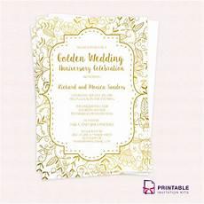 Create E Invite Golden Wedding Anniversary Invitation Template Pr
