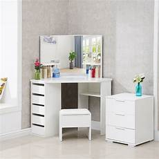 white wood corner dressing table corner makeup desk 5