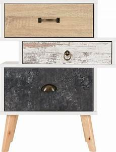 nordic 3 drawer bedside chest white distressed effect