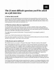 Interest Interview Questions 25 Most Difficult Interview Questions