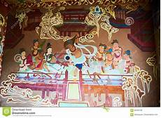 the dunhuang mogao grottoes fresco editorial stock photo