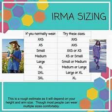 Sizing Chart For Lularoe Irma Irma Sizing Www Facebook Com Groups