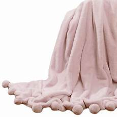 home luxe faux fur pom throw blanket light pink