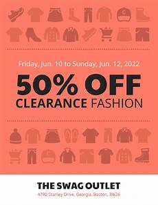 Sale Poster Ideas Red Amp White Retail Clothing Sales Flyer Idea Venngage