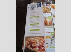 Menu showing early dinner duos   Picture of Olive Garden