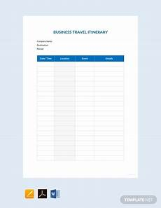 Detailed Itinerary Template Business Travel Itinerary