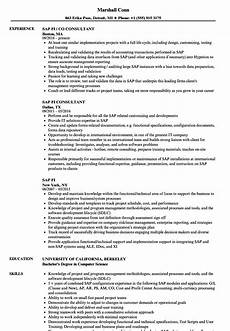 Sap Consultant Resume Sap Fi Resume Samples Velvet Jobs