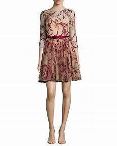 Marchesa Size Chart Marchesa Notte 3 4 Sleeve Tulle Fit Amp Flare Dress Red