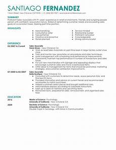 Retail Sales Associate Resume No Experience Unforgettable Part Time Sales Associates Resume Examples