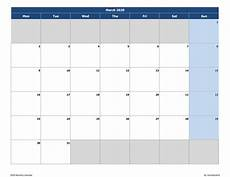 2020 Fillable Calendar Download 2020 Monthly Calendar Mon Start Excel Template