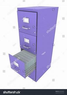 purple 3d filing cabinet drawer open stock illustration