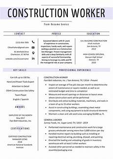 Resume Building Tools Construction Worker Resume Example Amp Writing Guide