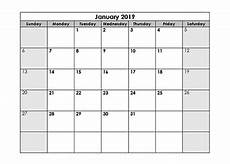 Calendar Blanks Blank Calendar 2019 Template Free Printable Blank