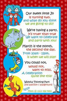 Second Birthday Party Invitations Dr Seuss Invitation For Second Birthday In 2019 Dr