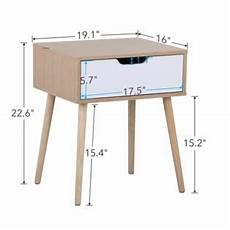 yaheetech white brown walnut side end table nightstand