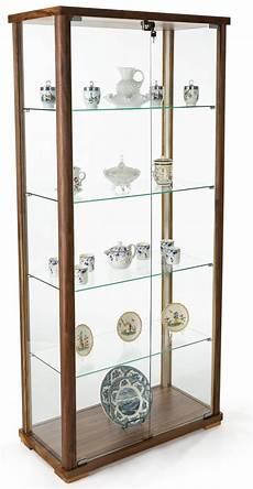 4 shelf glass curio cabinet swing open locking doors