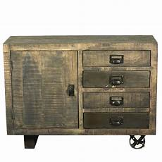 moreland rustic solid wood 4 drawer industrial cart