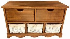 wood cabinet with 3 baskets and 2 drawers 72cm wicker