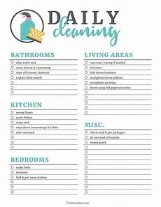 Cleaning Chart Checklist Printable Cleaning Checklists For Daily Weekly And