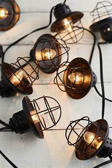 Caged Patio Lights Nautical Cage String Lights Black 10ct