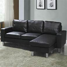 modern small 3 seater l shaped corner sofa black
