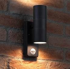 Black Outdoor Up And Down Lights Auraglow Pir Motion Sensor Stainless Steel Up Amp Down