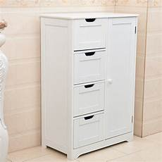 white wooden 4 drawer bathroom storage cupboard cabinet