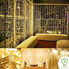 How To Make A String Light Curtain Zimtown 300 Led Patio Curtain String Lights 9 8ft X 9 8ft