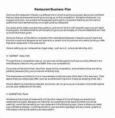 Restaurant Business Plan Examples Free 20 Sample Restaurant Business Plan Templates In