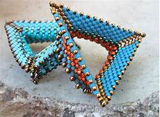 tri wing ring contemporary geometric beadwork
