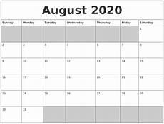 2020 Blank Calendar Pdf August 2020 Blank Printable Calendar