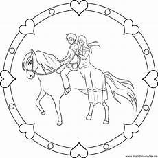kindermandala prinzessin und prinz reiten auf einem pferd