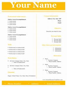 Two Column Template Word Modern Two Column Resume Template