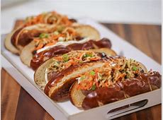 Grilled Bratwurst with Brie and Spiral Apple Slaw Recipe