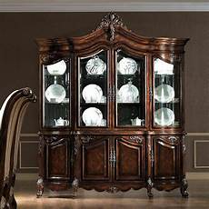 antiqued walnut buffet china hutch cabinet ebay