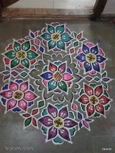 Color Kolam Designs With Dots Rangoli Margazhi 2014 2015 Day19 Dottedflowerkolam