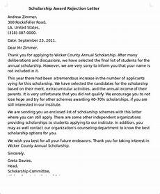 Award Acceptance Letter Example Award Rejection Letter Template Minak
