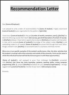 Letter Of Recommendation Sample Letters 10 Recommendation Letter Samples Free Word Amp Pdf