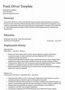 Resume Sample For Driver Truck Driver Resume Sample Resume Com