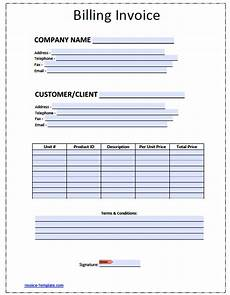 Bill Invoice Template Word Free Blank Invoice Template For Excel