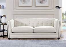 top grain leather white tufted sofa set 3pc hydeline